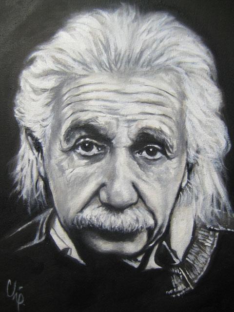 """Retrato al Oleo """" Albert Einstein """" 30X40 cm. Héctor Chavelas"""