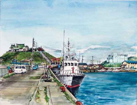 八戸市  蕪島と巡視船
