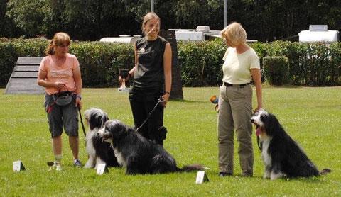 vlnr. 2. Sabine mit Kate, 1. Laura mit Angus, 3. Haldis mit Murphy