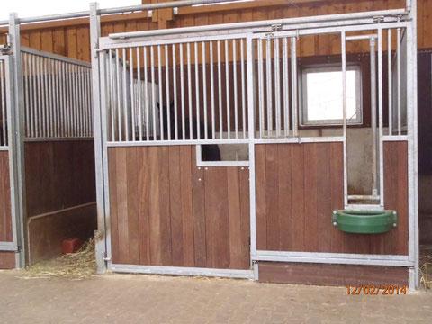 Zuchtstutenbox mit Heutrog und Fohlenkraftfuttertrog