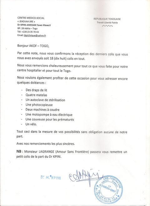 Lettre du Dc Kpini d'Adéta - Togo