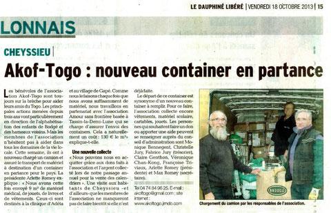Envoi d'affaire au Togo oct 2013