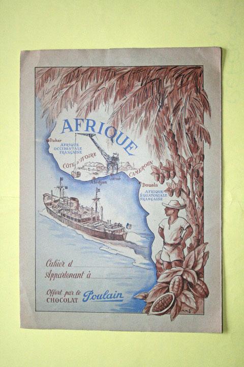 Protège cahier du chocolat Poulain sur les colonies (vers 1953)