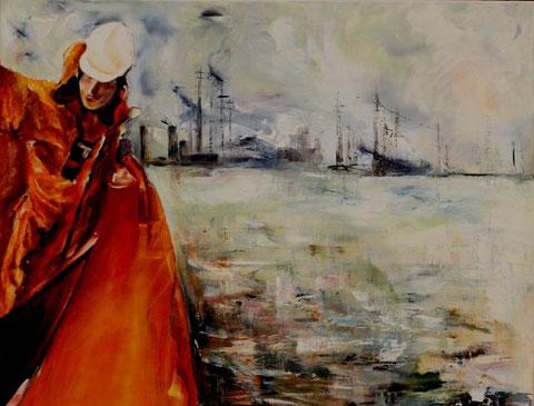 Havengids - Olieverf op doek 100 x 80 cm