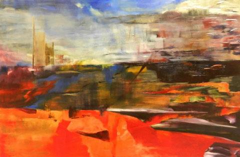Aankomst in de Antwerpse haven  - Olieverf op doek  120 x 80 cm