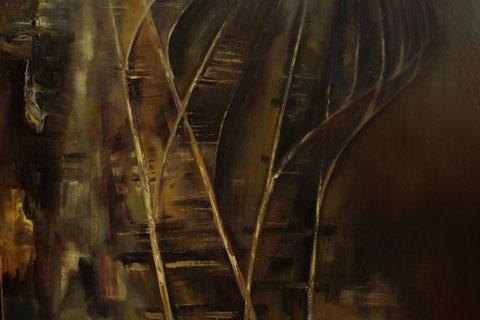 Haven sporen - Olieverf op doek 100 x 100 cm