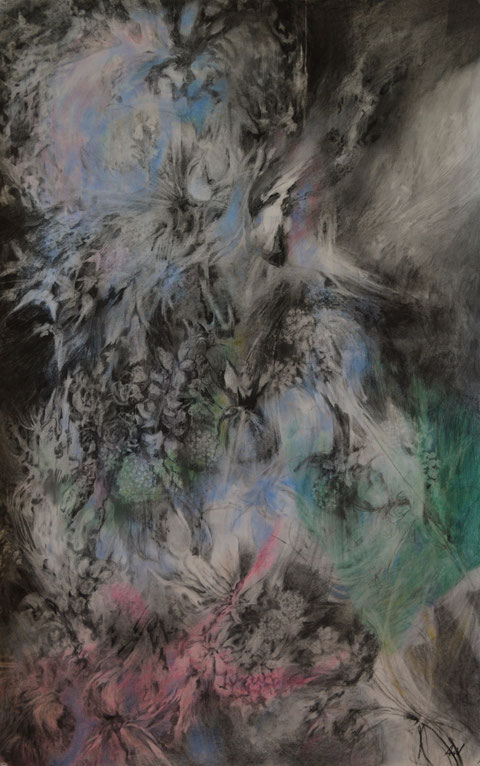 Naissance, 2016. Houtskool en pastelkrijt op papier, 193x95cm.