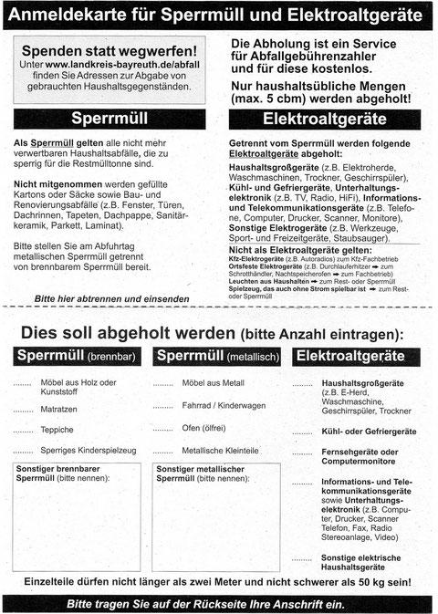 Sperrmüll - Anmeldekarte Seite 1/2