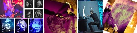 EriK BLACK PAINTING peintre performer glitter painting et speed painting tableau colle et paillettes spectacle international live glue gluing