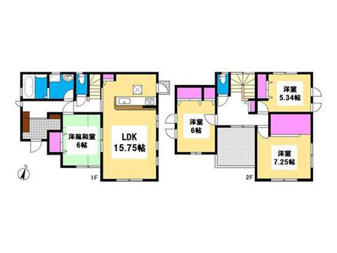 岡山市中区今在家の新築 一戸建て分譲住宅の間取り図