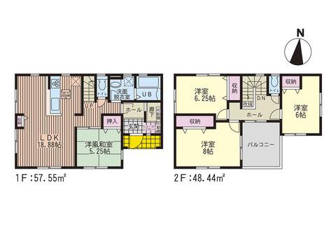 岡山市中区福泊の新築 一戸建て分譲住宅の間取り図