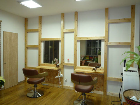 建築 施工例 岡山市のヘアサロン 店舗デザイン、内装