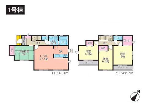 倉敷市船穂町船穂の新築 一戸建て分譲住宅の間取り図