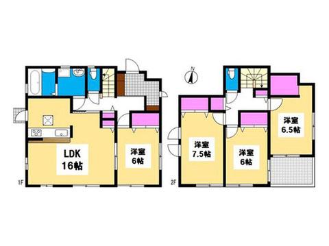 岡山県岡山市北区花尻みどり町の新築 一戸建て分譲住宅の間取り図