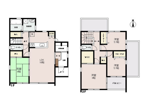 岡山市北区目黒町の新築 一戸建て分譲住宅の間取り図