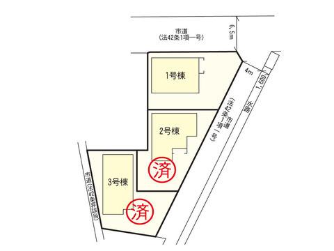 岡山市中区中島の新築 一戸建て分譲住宅の区画図