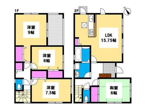 岡山市中区湊の新築 一戸建て分譲住宅の間取り図