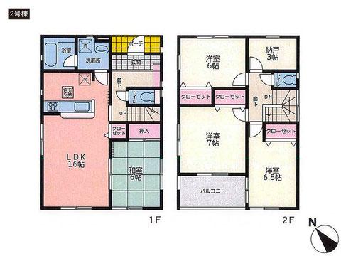 岡山県玉野市築港の新築 一戸建て分譲住宅の間取り図