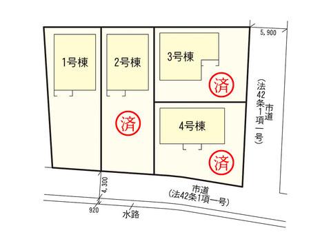 岡山県瀬戸内市長船町の新築 一戸建て分譲住宅の区画図
