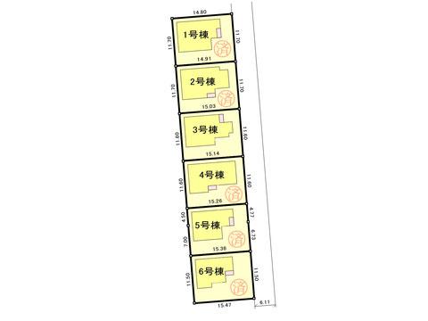 岡山市中区福泊の新築 一戸建て分譲住宅の区画図