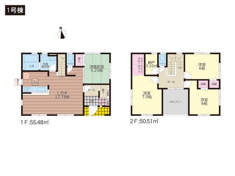 岡山市中区国富の新築 一戸建て分譲住宅の間取り図