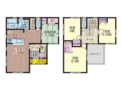 岡山市中区中島の新築 一戸建て分譲住宅の間取り図