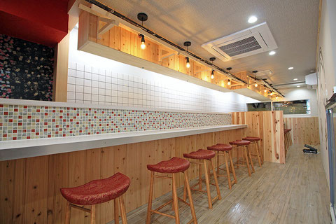 建築 施工例 岡山市北区岩田町のラーメン店の店舗デザイン、内装