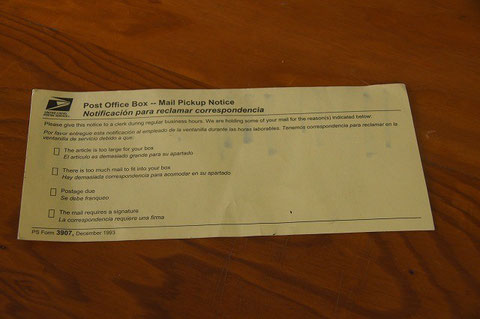 Mail Pickup Notice from USPS Koloa Post Office