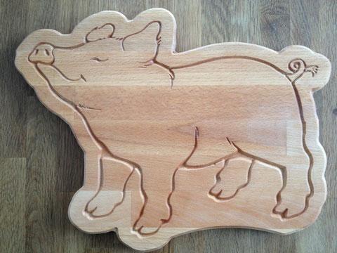 Brotzeitbrett Schwein Happy
