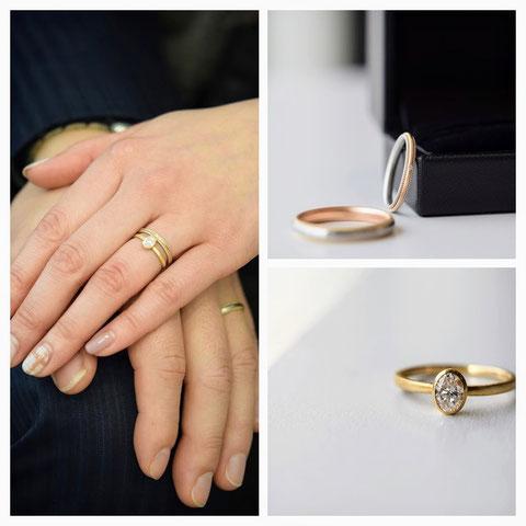 旭川市 Y様の婚約指輪と結婚指輪