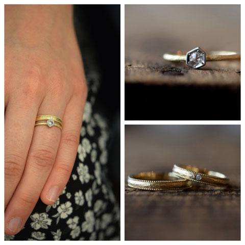下川町 S様の婚約指輪と結婚指輪