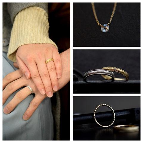 旭川市 T様の婚約ネックレスと結婚指輪と重ね付け用のリング