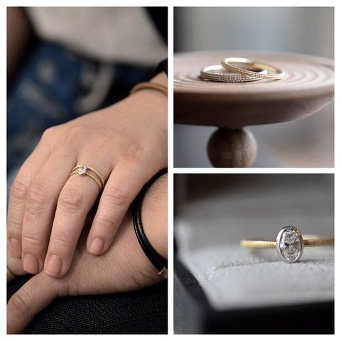 名寄市 F様の婚約指輪と結婚指輪