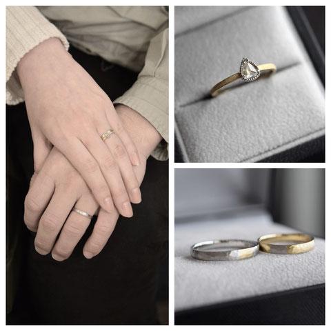 旭川市 N様ご夫妻の婚約指輪と結婚指輪