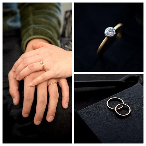 東川町 M様ご夫妻の婚約指輪と結婚指輪