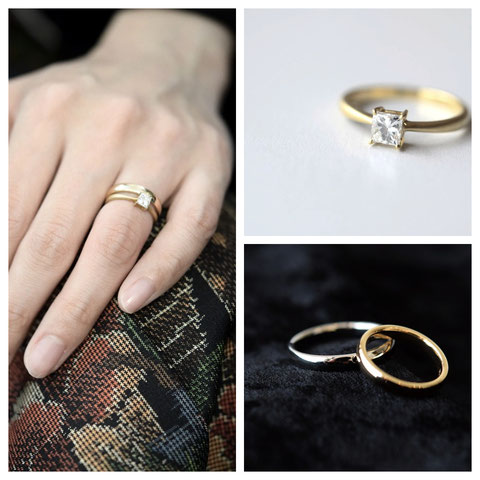 北見市 K様ご夫妻の婚約指輪と結婚指輪