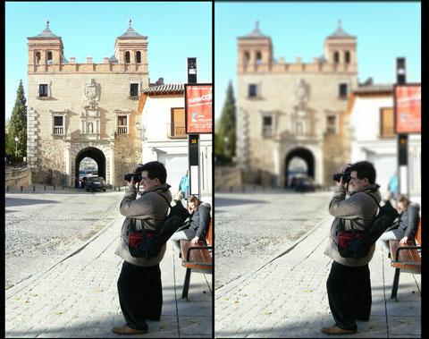 "Imagen original, Imagen final con ""Desenfoque degradado""."
