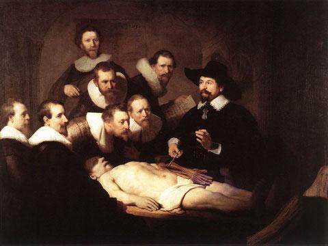 """""""La lección de Anatomía del doctor Nicolaes Tulp"""", por Rembrandt."""