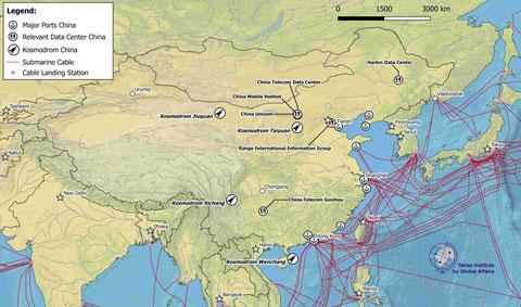 Karte Chinas relevanten Infrastrukturen
