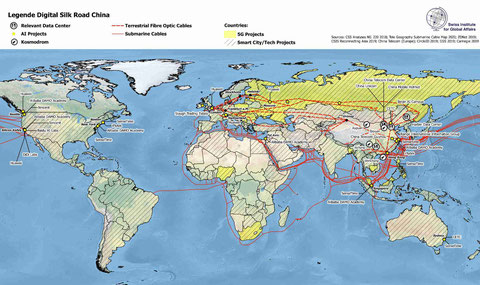 Karte Chinas neue Seidenstrassen - Digitale Seidenstrasse