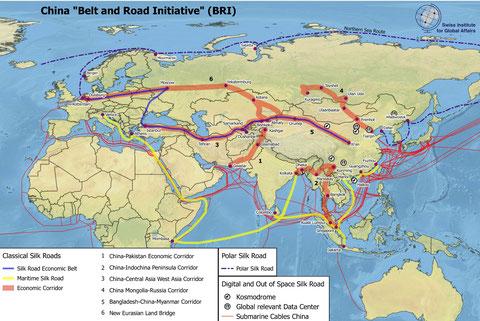 Abbildung 1: Karte von Chinas BRI