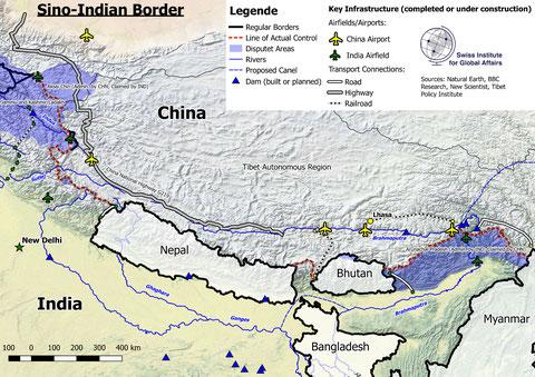 Karte Grenzregion Indien China