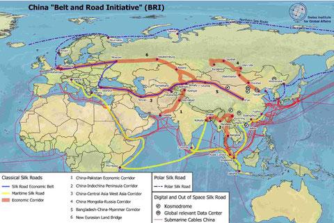 Karte Die neuen und verdeckten Chinesischen Seidenstrassen