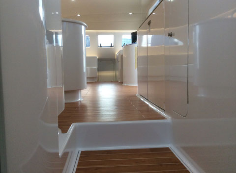 Interior of catamaran Cut Loose after a refit