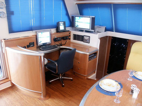 Nav station on board catamaran Ef Jay