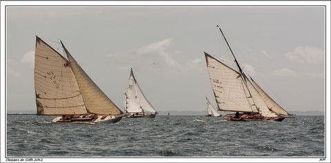 Just Pure (1948) au vent de trois de ses prestigieux adversaires lors des voiles de la Baie de Quiberon 2012 : Pen Duick (1898), Chrisando (1937) et Oriole (1904)