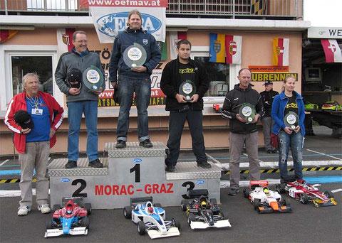 Sieger Formel 1 1. Platz: Michael Weiser, A 2. Platz: Markus Gloor, CH 3. Platz: Hrvoje Stegmayer, HR 4. Platz: Roland Richner, CH 5. Platz: Marta Stegmayer, HR
