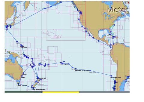 die Reise der Delphin Teil 2         Chile - Südsee - Neuseeland - Australien - Tasmanien - Südsee - Japan - Alaska - Kanada -USA W- Küste - Centralamerika -  Panamakanl - Kolumbien - Jamaica -  Cuba -  USA Norfolk       2011  bis  2017   knapp 36 000  SM