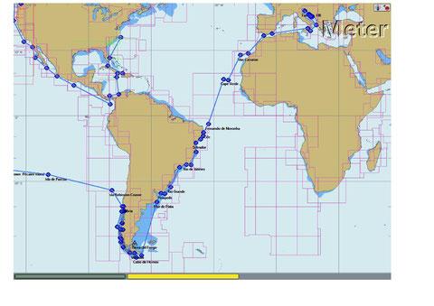die Reise der Delphin  Teil 1   Kroatien - Italien - Gibraltar - Kanarische Inseln - Kap Verden - Brasilien - Uruguay - Argentinien - Kap Horn - Chile Valdivia                  2008  bis  2011  Knap 20 000  SM