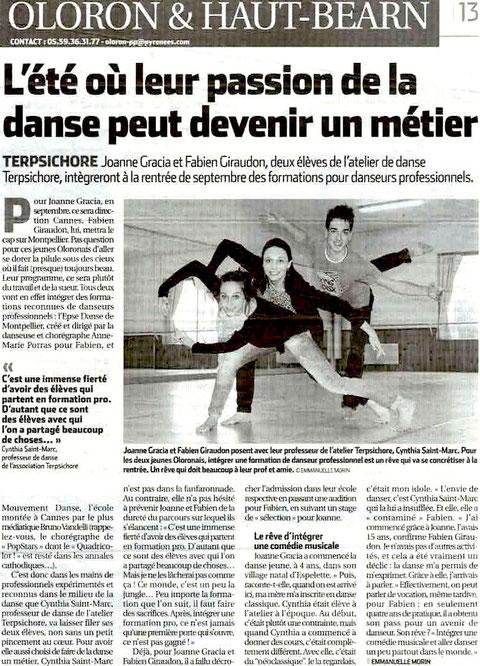 """Article de presse """"La République des Pyrénées"""" Lundi 6 Août 2012"""